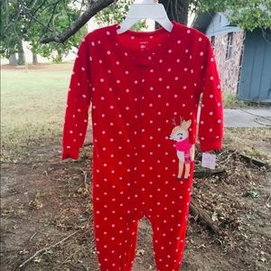 Carter's girls 2T fleece footed pajamas NWT red
